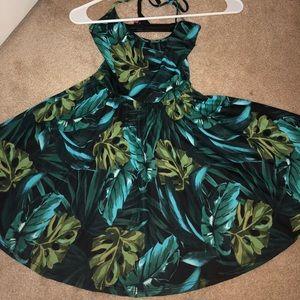 Tropical print skater dress